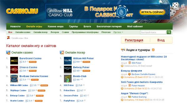 Обзор сайта Casino.Ru